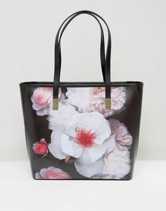 Маленькая сумка-шоппер с цветочным принтом Ted Baker - Черный