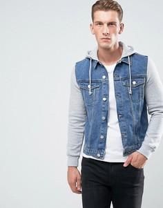 Выбеленная джинсовая куртка с трикотажными рукавами New Look - Синий