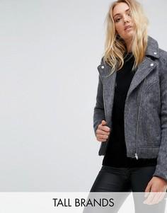 Трикотажная байкерская куртка Noisy May Tall - Серый