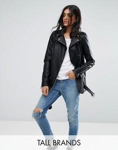 Байкерская куртка из искусственной кожи Noisy May Tall - Черный