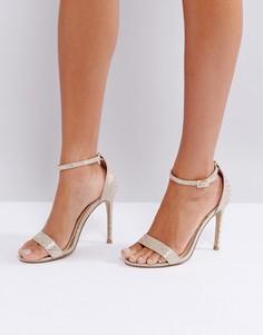 Туфли на каблуке с золотистым змеиным принтом Lipsy Barely There - Золотой