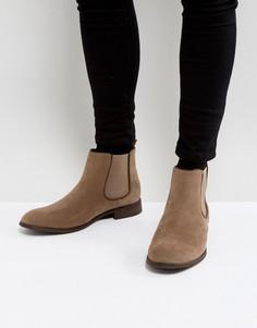 Светло-коричневые ботинки челси из искусственной замши New Look - Светло-серый