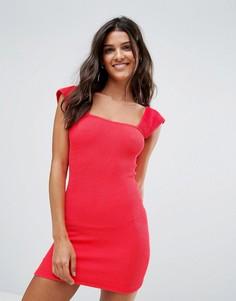 Пляжное платье из жатой ткани с широкими бретелями ASOS - Красный