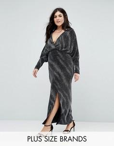 Платье макси с блестками и запахом Club L Plus - Черный