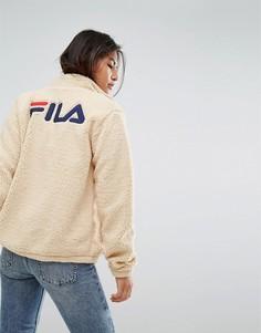 Свободная куртка из искусственной цигейки на молнии Fila - Кремовый