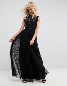 Декорированное платье с оборками Needle & Thread - Черный