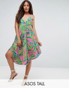 Пляжное платье в полоску на бретельках с принтом ASOS TALL - Мульти