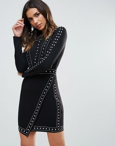 Облегающее платье мини с запахом на юбке WOW Couture - Черный