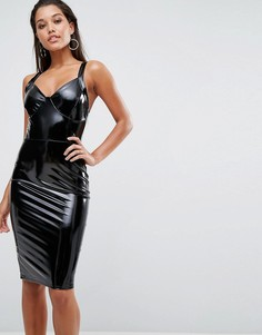 Блестящее облегающее платье миди Lipsy - Черный