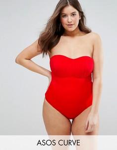Слитный купальник-бандо со сборками ASOS CURVE - Красный