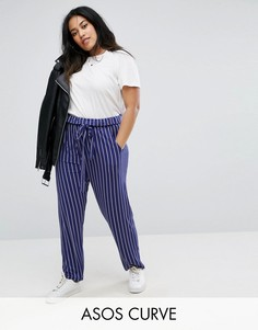 Полосатые брюки галифе с завязкой ASOS CURVE - Мульти