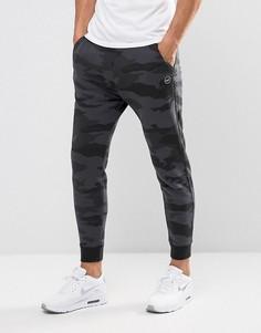 Черные камуфляжные джоггеры скинни с логотипом и манжетами Hollister - Черный