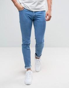 Выбеленные джинсы скинни Diesel 0684B - Синий