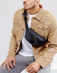 Черная сумка-кошелек на пояс с принтом ASOS - Черный