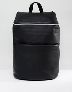 Черный рюкзак из искусственной кожи с молнией ASOS - Черный