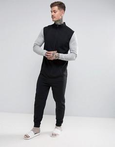 Комбинезон с воротником в спортивном стиле и контрастными рукавами ASOS - Черный