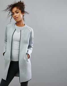 Длинная трикотажная куртка на молнии Only Play - Серый