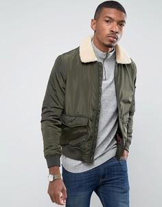 Легкая утепленная куртка Харрингтон с воротником из искусственного меха Brave Soul - Зеленый