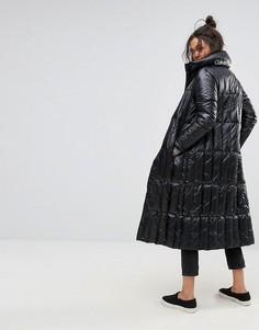 Удлиненная дутая куртка с логотипом Calvin Klein Jeans - Черный