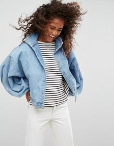 Синяя джинсовая куртка с пышными рукавами ASOS - Синий