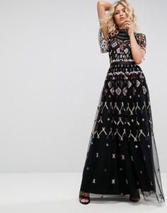 Платье макси с вышивкой Needle & Thread - Черный