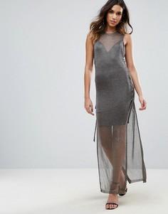 Вязаное платье кроше макси со шнуровкой и эффектом металлик WOW Couture - Черный