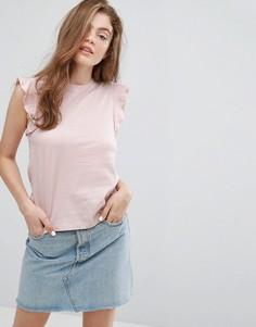 Топ свободного покроя с оборками на плечах New Look - Розовый