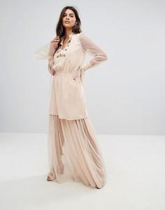 Платье мини и макси 2 в 1 с оборкой Tresophie - Розовый
