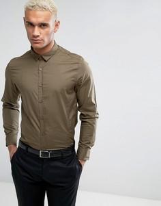 Строгая узкая рубашка Brave Soul - Зеленый