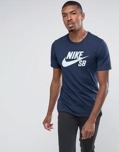 Темно-синяя футболка с логотипом Nike SB 821946-458 - Темно-синий