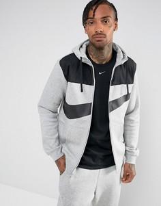 Худи серого цвета с молнией Nike Hybrid 861712-063 - Серый