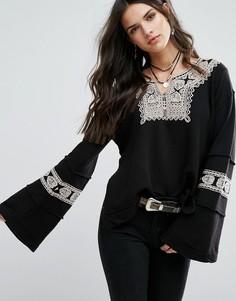 Блузка с вышивкой Free People Santa Maria - Черный