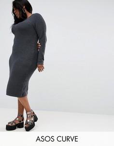Платье миди крупной вязки со вставками в рубчик ASOS CURVE - Серый