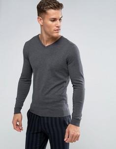 Джемпер из смеси хлопка и шелка Selected Homme - Серый