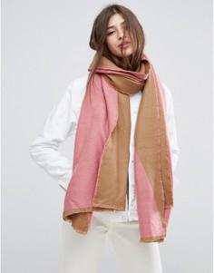 Длинный тканый шарф в стиле колор блок ASOS - Розовый