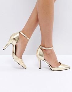 Золотистые туфли на каблуке с острым носком и ремешками True Decadence - Золотой