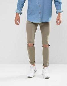 Выбеленные джинсы скинни цвета хаки с рваными коленями Brooklyn Supply Co - Зеленый