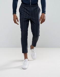 Строгие темно-синие суженные брюки в полоску с эластичным поясом ASOS - Темно-синий