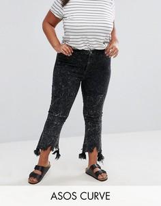 Черные выбеленные укороченные джинсы клеш с необработанным краем ASOS CURVE - Черный