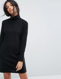 Трикотажное платье с рукавами летучая мышь и отворотом на вороте Noisy May - Черный