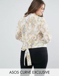 Блузка с винтажным принтом и поясом на спине ASOS CURVE - Мульти