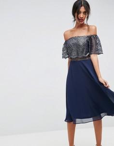 Платье миди металлик с открытыми плечами и расклешенной юбкой ASOS - Темно-синий