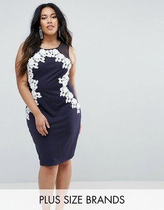 Облегающее платье с 3D-отделкой Club L Plus - Темно-синий