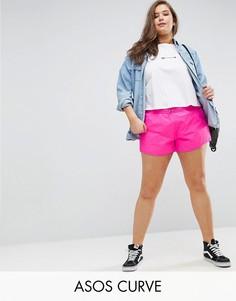 Спортивные шорты с асимметричным краем ASOS CURVE - Розовый