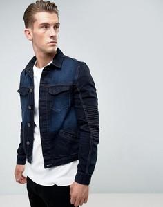 Джинсовая куртка с отделкой в байкерском стиле Juice - Синий