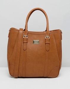 Большая сумка-хобо со съемным наплечным ремешком Marc B - Рыжий