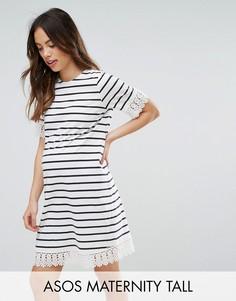 Платье в полоску с отделкой кружевом ASOS Maternity TALL - Мульти