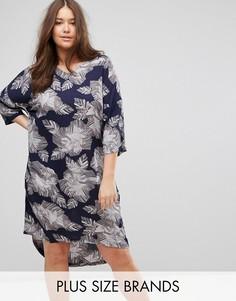 Платье с рукавами 3/4 и цветочным принтом Junarose - Темно-синий