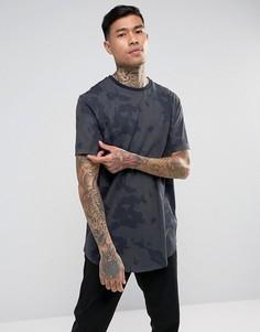 Длинная футболка с камуфляжным принтом ASOS - Зеленый