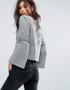 Блузка из поплина с открытой спиной Uncivilised - Черный